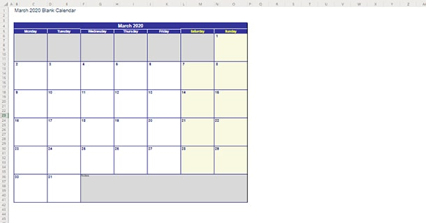 Blank Template March 2020 Calendar Excel