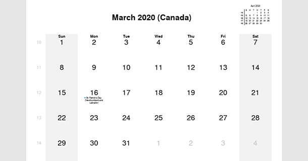 March 2020 Calendar with Canada Holidays