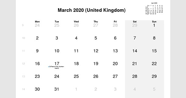 March 2020 Calendar with UK Holidays