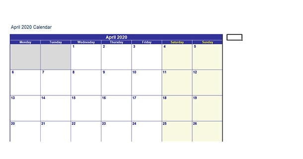 Editable April 2020 Calendar Excel