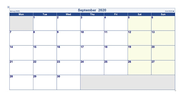 Editable September 2020 Calendar Word