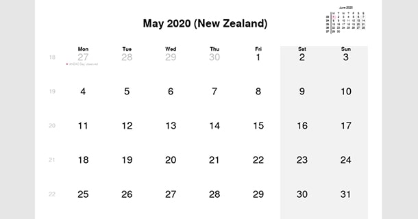 May 2020 Calendar with New Zealand Holidays