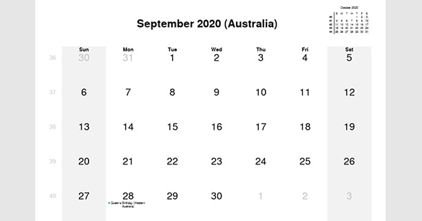 September 2020 Calendar with Australia Holidays