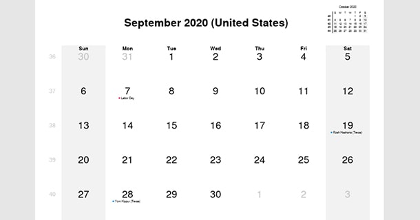 September 2020 Calendar with US Holidays