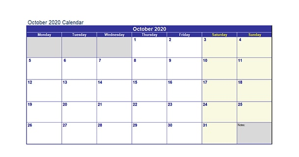 Printable October 2020 Calendar Excel