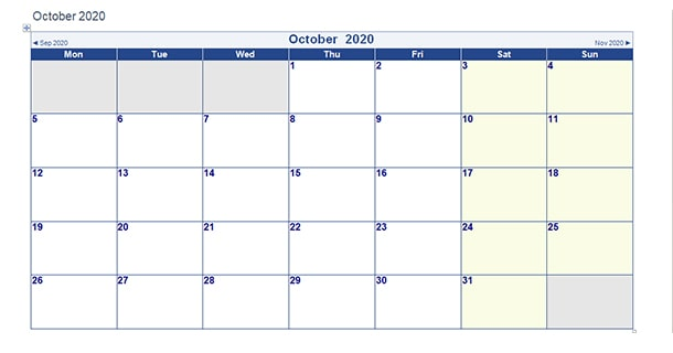 Printable October 2020 Calendar Word