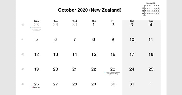 October 2020 Calendar with New Zealand Holidays
