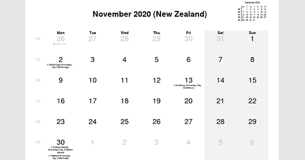 November 2020 Calendar with New Zealand Holidays