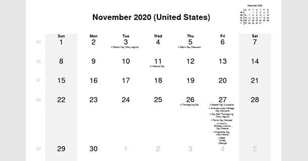 November 2020 Calendar with US Holidays