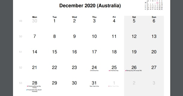 December 2020 Calendar with Australia Holidays
