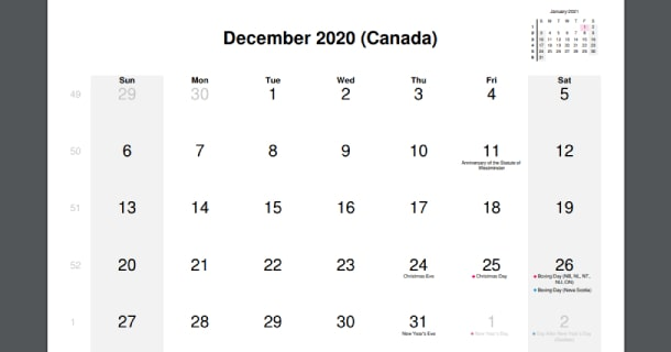 December 2020 Calendar with Canada Holidays