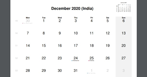 December 2020 Calendar with India Holidays