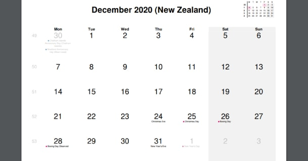 December 2020 Calendar with New Zealand Holidays