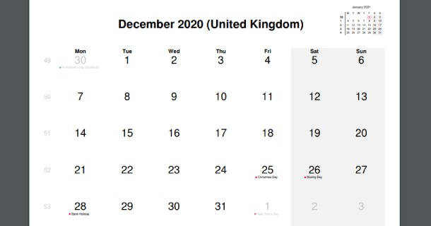 December 2020 Calendar with UK Holidays