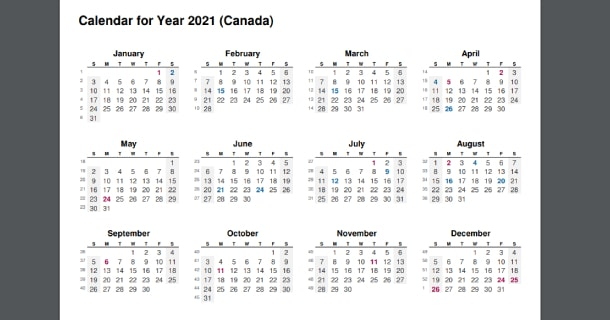 2021 Full Year Calendar with Canada Holidays
