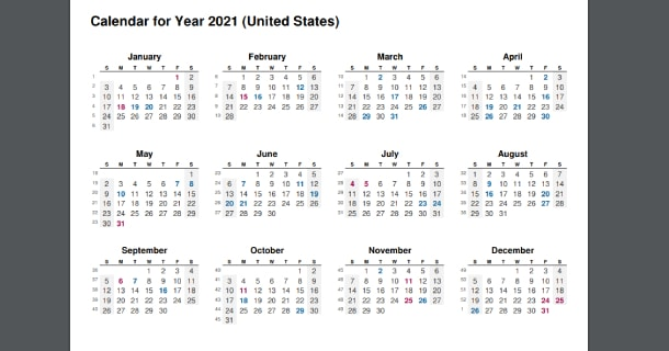 2021 Full Year Calendar with US Holidays