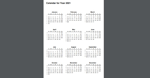 Blank Template 2021 Full Year Calendar PDF