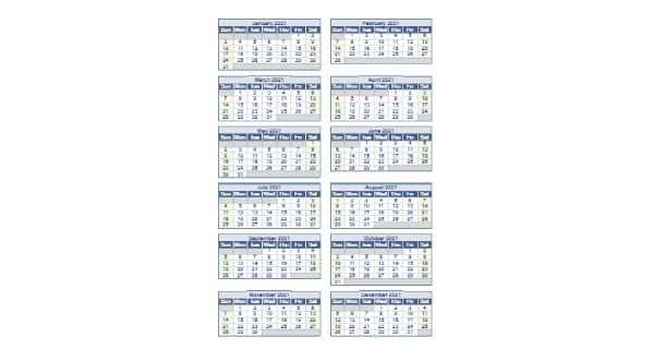Printable 2021 Full Year Calendar Excel