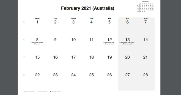 February 2021 Calendar with Australia Holidays