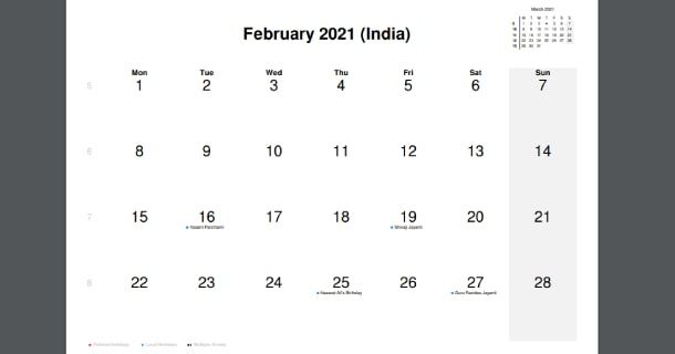 February 2021 Calendar with India Holidays