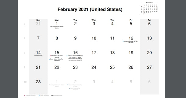 February 2021 Calendar with US Holidays