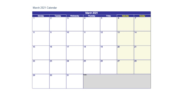 Printable March 2021 Calendar Excel