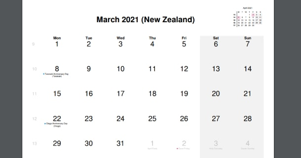 March 2021 Calendar with New Zealand Holidays