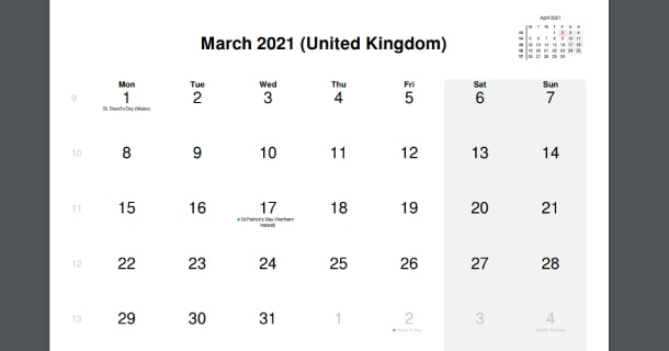 March 2021 Calendar with UK Holidays
