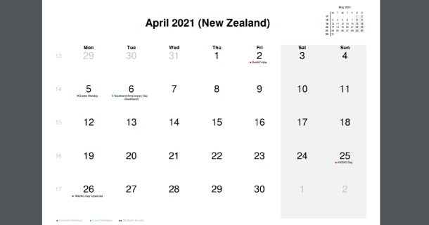 April 2021 Calendar with New Zealand Holidays