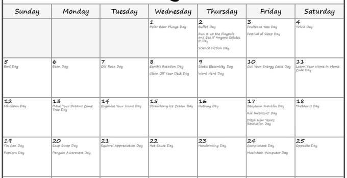 January 2020 calendar fun holidays2
