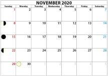 blank november 2020 calendar with moon phase