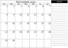 calendar 2020 november notes