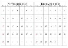 november december calendar