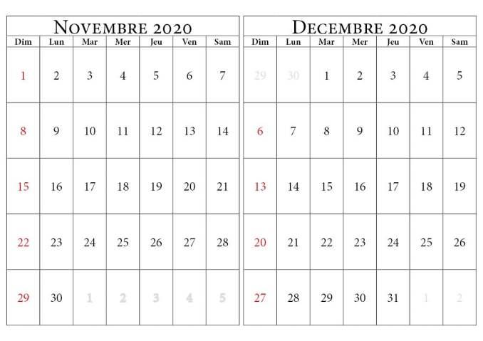 calendrier novembre decembre 2020