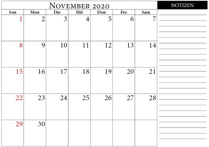 november 2020 kalender notizen