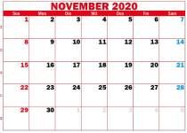 red november kalender