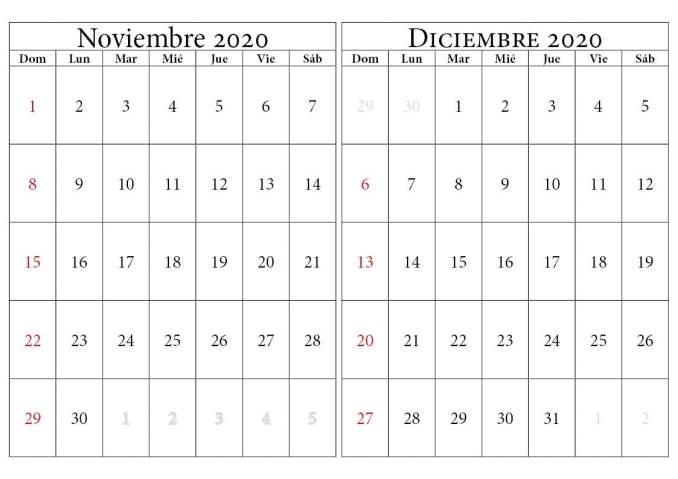 calendario noviembre diciembre 2020
