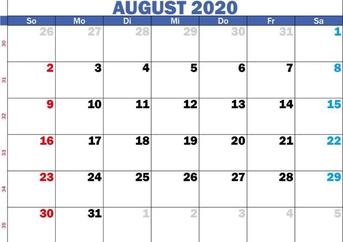 kalender monat august 2020