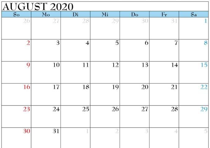 2020 August Calendar Blank