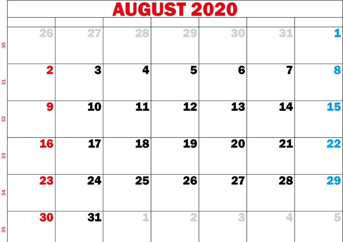 Free 2020 August Calendar
