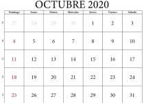 calendario oct 2020