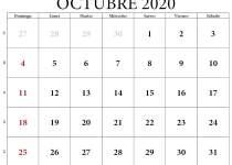 calendario octubre 2020 con festivos