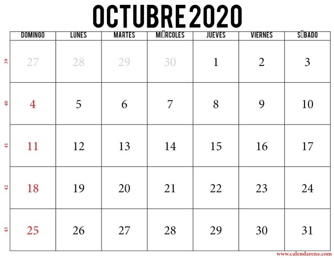 Calendario octubre 2020 para imprimir