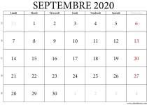 Calendrier de septembre 2020 imprimable