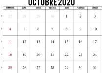 Calendrier 2020 octobre
