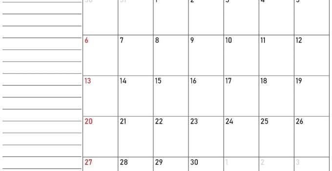 Calendario septiembre 2020 con notas