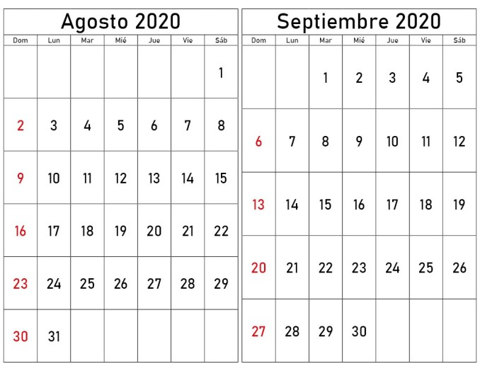 calendario agosto y septiembre 2020