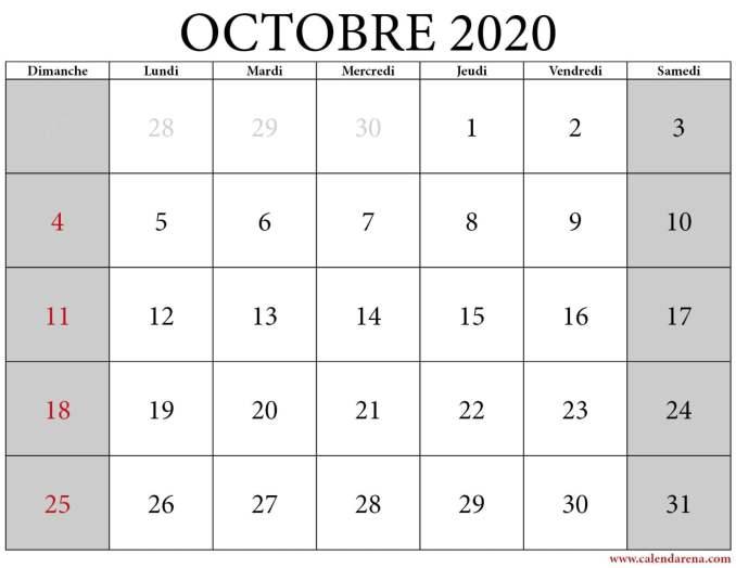 Octobre 2020 calendrier
