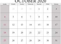 Printable october 2020 calendar