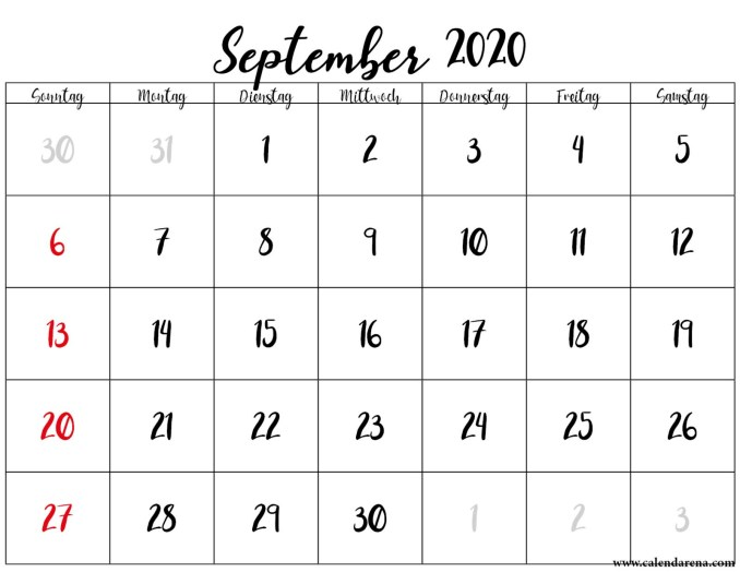 Monatskalender september 2020